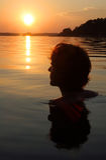 Pływaczka przy zmierzchem w morzu bałtyckim, Szwecja obraz royalty free
