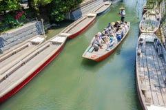 Pływający statkiem i zwiedzający, Yanagawa rzeka Fotografia Royalty Free