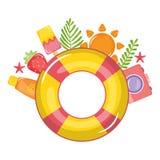 Pływakowy ratownik z lato ikonami wokoło ilustracji