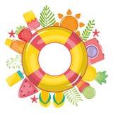 Pływakowy ratownik z lato ikonami wokoło ilustracja wektor
