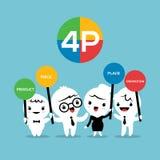 4P επιχειρησιακή έννοια προώθησης τιμών θέσεων προϊόντων μιγμάτων μάρκετινγκ διανυσματική απεικόνιση