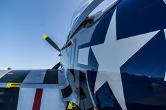 P-51野马标签口岸视图的后方处所关闭  免版税图库摄影