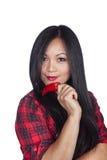 ασιατική κόκκινη γυναίκα &p Στοκ Εικόνες