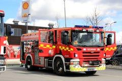 斯堪尼亚P340消防车 库存照片