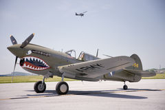 P-40E WarHawk fighter plane stock images
