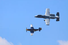 P-51 and A-10 Royalty Free Stock Photo