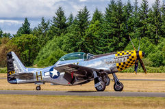 P-51 Mustang. Restored P-51 Mustang fighter from World War II at an Air Show July, 2011. Gig Harbor, Washington Stock Image
