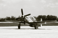 P-51 Mustang. An old black and white photo of a P-51 Mustang Fighter plane Stock Image