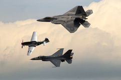 P-51 Mustang, F-16 Falcon and F-22 Raptor Stock Photography