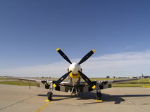 P-51 Mustang frontal view. A P-51 Mustang parked at a Minot AFB airshow Royalty Free Stock Image