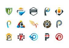 在p商标,现代企业公司标志设计上写字 免版税图库摄影