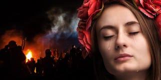 płacz kobiety young Obrazy Stock