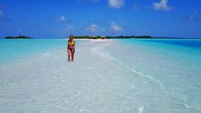 P02030 Aerial flying drone view of Maldives white sandy beach happy 1 person young beautiful young woman walking on Royalty Free Stock Photography