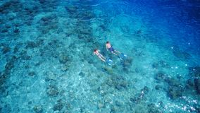 P01012 Aerial flying drone view of Maldives white sandy beach 2 people young couple man woman snorkeling swimming diving. Aerial flying drone view of Maldives Stock Photography