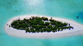 P00092 Aerial flying drone view of Maldives white sandy beach on sunny tropical paradise island with aqua blue sky sea water ocean Royalty Free Stock Photography