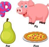 P alphabet cartoon. Illustration of P alphabet cartoon Royalty Free Stock Photo