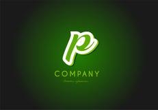 P alphabet letter logo green 3d company vector icon design. P alphabet letter hand written hand writing green white logo 3d vector creative company icon design stock illustration