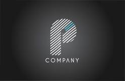 P alphabet line stripe white blue letter logo icon design Royalty Free Stock Images