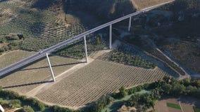 1080p antena, voo sobre pomares de uma ponte da estrada e para baixo da vila e da azeitona do rio, Andalucia, Espanha Fileiras de video estoque