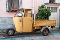 P 501 Ape Car is a three-wheeled light commercial vehicle. Gaeta, Italy - August 19, 2015: P 501 Ape Car is a three-wheeled light commercial vehicle produced Royalty Free Stock Image
