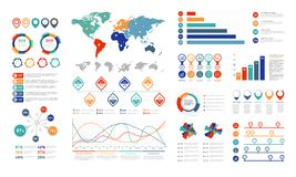 Płascy infographic elementy Prezentaci mapy element, procentu wykresu sztandar i infograph flowchart, Mapy dla ilustracja wektor