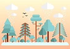Płascy lasowi ptaki i chmury Zdjęcia Stock