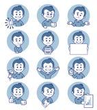 Płascy ludzie ikon z biznesowymi charakterami Obraz Stock