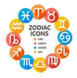 Płascy modni zodiaków symbole 2 Zdjęcia Royalty Free