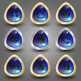 Płaska ikona na elemencie Ustawia 4 Obraz Royalty Free