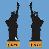 Płaska ikona swobody statua, Frontowy widok i Tylny widok, Obrazy Royalty Free