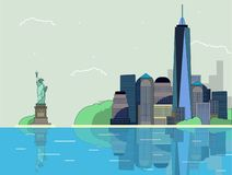 Płaska ilustracyjna panorama nowy Jork miasto fotografia royalty free