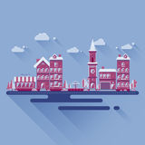 Płaska projekt ilustracja miasto krajobraz Obraz Royalty Free