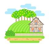 Płaska projekta wektoru krajobrazu ilustracja Wioska dom z fi Zdjęcie Stock
