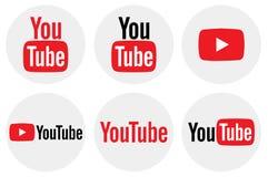 Płaska round YouTube ikony kolekcja fotografia stock