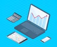 Płaska wektorowa isometric ilustracja biurowego biurka elektroniczny equ Obraz Stock