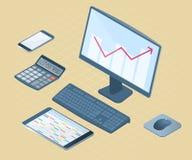 Płaska wektorowa isometric ilustracja biurowego biurka elektroniczny equ Fotografia Stock