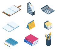 Płaska wektorowa isometric ilustracja biurowy desktop miejsce pracy s Zdjęcia Stock