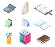 Płaska wektorowa isometric ilustracja biurowy desktop miejsce pracy s Obraz Royalty Free