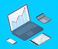 Płaska wektorowa isometric ilustracja elektroniczna biurowy desktop Zdjęcia Royalty Free