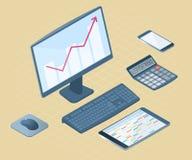 Płaska wektorowa isometric ilustracja elektroniczna biurowy desktop Fotografia Stock