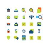 Płaska wektorowa mobilna sieci app interfejsu ikony paczka Obrazy Royalty Free