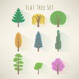 Płaski drzewo set Obrazy Royalty Free