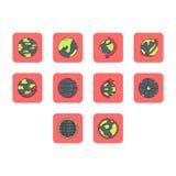 Płaski kolor kuli ziemskiej ikony set Zdjęcie Stock