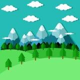 Płaski las i góry Obraz Stock