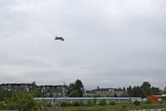 Płaski latanie nad Courtenay powietrza parkiem Obraz Royalty Free