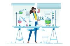 P?aski m?ody pi?kno kobiety chemik z kolbami z cieczem ilustracja wektor