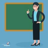 Płaski projekta nauczyciel przy blsckboard Zdjęcie Stock