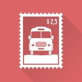 Płaski projekta znaczek z autobusem Zdjęcie Royalty Free