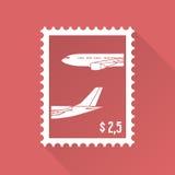 Płaski projekta znaczek z samolotem Obrazy Stock