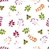 P?aski wektor Bezszwowy wzór: liście, jagody i insekty na białym tle, royalty ilustracja